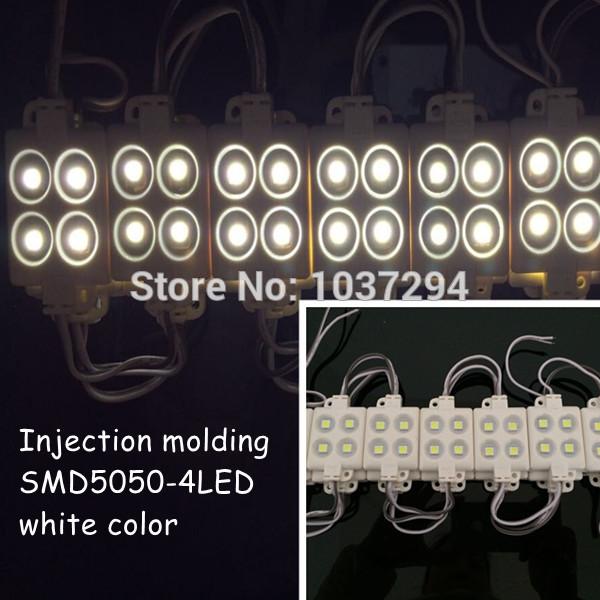 20pcs injection molding SMD5050 4LEDs/ piece led Modules Waterproof IP65 DC12V white free shipping(China (Mainland))