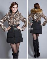 free shipping! women's winter thick down leopard patchwork long coat parkas warm fox fur collar jacket parkas S M L XL XXL LH02