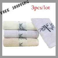 [TOWEL] 34*75 cm 115g 3pcs/lot  Bamboo Jacquard Face Towel 3 Color  High Absorbent Towels Bathroom Bath Towe Household Products