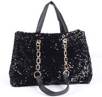 NEW PU leather fashion Handbag sequins beads bag and simple black bag  women's bag shoulder bag yd83