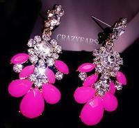 Baroque Summer New phosphor luxury fashion wild flowers sweet diamond earrings exaggerated 50% off