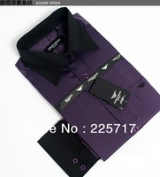free shipping 5 color size S-4XL men brand business formal shirt non-iron cotton yarn-dyed stripe french-cuffed sleeve MWS130007