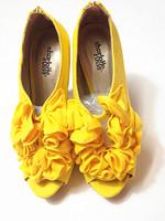 2014 yellow flower open toe ultra high heels pumps platform thin heels women's shoes Pumps