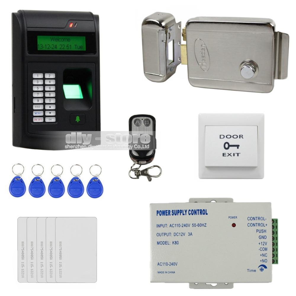 DIY 125KHz RFID LCD Biometric Fingerprint Keypad ID Card Reader Access Control System Kit + Electric Lock 208I-S(China (Mainland))