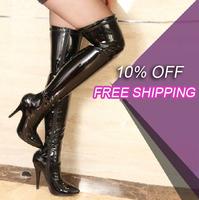 Sexy Thigh high zipper women size 11 12 cm high heels big size Thigh high boots women shoes 2014
