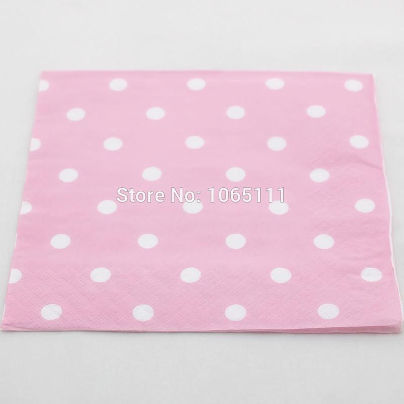 Free Shipping 400pcs Valentine's Party Napkin Baby Pink Polka Dot Paper Napkin 33cmX33cm 100% Original Pulp Folding Paper Napkin(China (Mainland))
