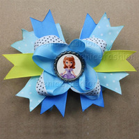HB3124princess cartoon hair bow multilayer bow free shipment valentines style 12pcs/lot