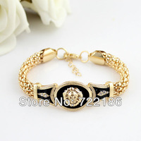 2014 New Year Gift  Black Enamel Charming Gold Color Alloy Jewelry Lion Face High Quality Bangle For Women