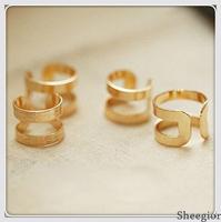 2 pcs New Fashion Designer Knuckle Ring sets Metal Geometry Smooth Matte women Fashion Finger rings wholesale