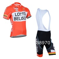 Quick Delivery! 2014 lotto cycling jersey short sleeve and bicicleta bike bib shorts/ clothing set/ ropa ciclismo men!!