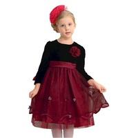 Retail 1 Pc New 2014 Spring Autumn Winter Kids Girl Dress Princess Girls Long-Sleeve Dresses For Weddings Party Dress CC1689