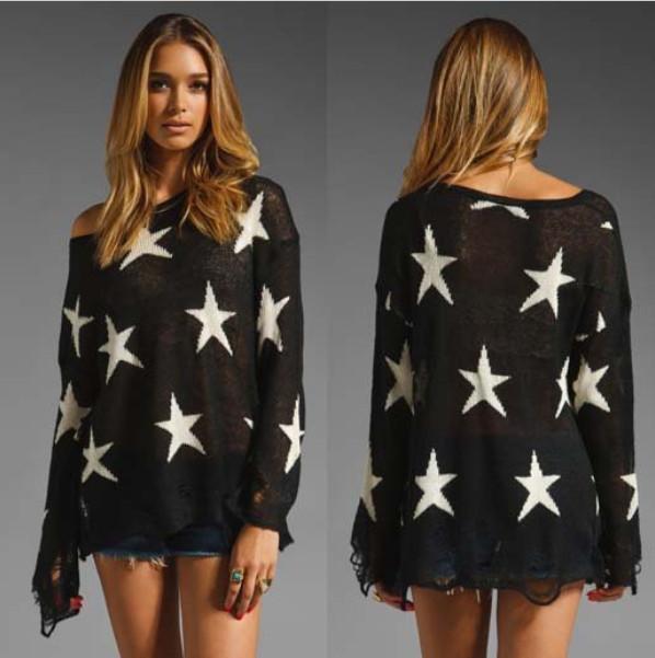 Punk Sweater Pattern Pullover Star Pattern Punk