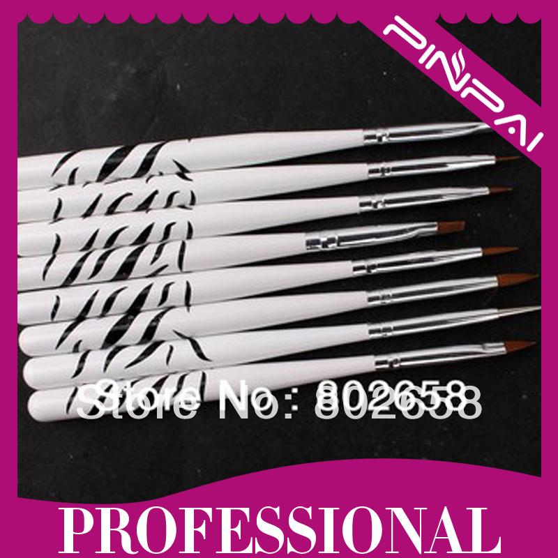 Free shipping 8 Pcs Nail Art Design Polish Brush Painting Pen Set Drawing Liners Tool Wholesale(China (Mainland))