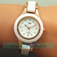 JW-1449 50pcs/lot Fashion JW Ladies Dress Bracelet Watch Excellent Design White Color Quartz Wristwatch Acrylic Crystal Watch