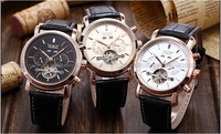 JA004 Free Shipping,Wholesale 2pcs 5%OFF.Luxury Brand Business Mechanical Self Wind Watches for Men,Leather Strap,Dress Style