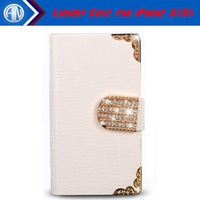2014 New Luxury Shining Crystal Bling PU Leather Case For iPhone 5 5S New Mobile Phone Bags Rhinestone Cover Free Shipping