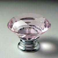 NEW Free shipping 12pcs/lot 40mm Clear Pink Crystal diamond Cabinet Knob Drawer Pull Handle Kitchen Door Wardrobe Hardware
