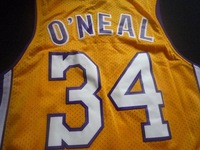free shipping  NEW 2014  USA Los Angeles #34 Shaquille O'Neal yellow throwback basketball jersey camisetas  basketball shirt