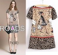 2014 New Fashion Character Girl Print Leopard Printed Chiffon Dress women's Short Sleeve O Neck Mini Dresses clothing/WOQ