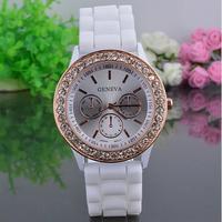 Wholesale GENEVA ladies women rose gold case crystal diamond silicone gel jelly quartz brand dress watch 10 PCS/LOT WTH10