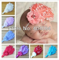 12colors Baby Headbands Nagorie Pad Feather Headband with handmade pearl flowers Curled Feather Headband girls hair accessories