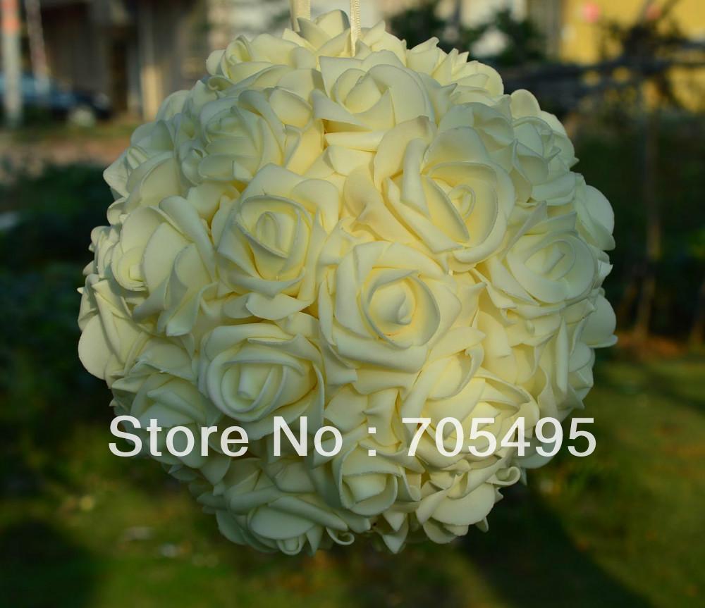 9'' 23cm Artifiical Kissing Foam Rose Flower Ball Wedding Centerpiece Decorative Flowers & Wreaths 18pcs/lot Free Shipping(China (Mainland))