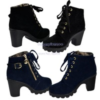 2014 New Fashion Women's Retro Buckle Heel Platform Shoes Lace Up Warm Martin Boots Pumps 9124