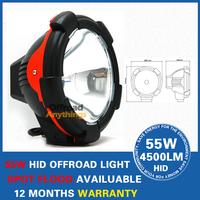 "2 Pcs 7"" 55w Hid Off Road Light,Free Shipping+6000 Lumens 75W HID Off Road Driving Light For Truck Off Road Vehicle"