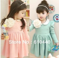 2014 New Arrival wholesale hot sale baby girls spring autumn long sleeve dress children pearl+ flower beautiful dress 110-150