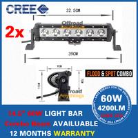 Free Shipping  2PCS 11 INCH 60W CREE LED LIGHT BAR FOR OFF ROAD LIGHT BAR FLOOD OR SPOT LED DRIVING LIGHT LED BAR LIGHT