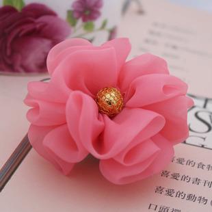 Misture min acessórios de cabelo chiffon 15 $ flor com botão de flor de tecido para headband do 6colors menina flor(China (Mainland))
