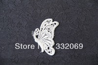 Free Shipping  Cheap DIY White Butterfly Embroidery Lace Patches for Clothes Decoration Home Decor High Quality 6.5*4.5cm