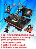 5 IN 1 mini digital Heat Press Machine 110V,220V heat transfer machine printing mugs, plates,caps, t-shirts, Sublimation machine