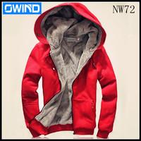 Promotional 2014 new men's plush thick warm overcoat winter wear coat fleece &cotton padded Jacket Men hoodie m l xl xxl,6 COLOR