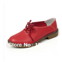 Free shipping 2014 British fashion female casual shoes women genuine cow leather breathable single shoes oxford