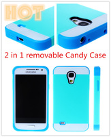 Retail Package 2 in 1 Plastic TPU Slim Armor Candy Crush Combination Case Bcak Cover For Samsung Galaxy S4 mini i9190 Housing
