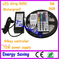 Free shipping 5M 300led Led strip light waterproof DC12V Red/Yellow/Green/Blue/White/warm white/RGB+power supply