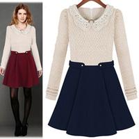 New 2015 autumn and winter long-sleeve woolen winter dress fashion knitted short pleated skirt elegant slim waist
