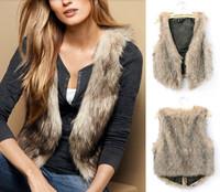 Good Quality 2014 New Women Elegant Fashion Vintage Trendy Celeb Faux Fur Waistcoat Vest Coats Tops Womans Winter Autumn Jackets