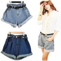 14$=2014 Summer Spring Shorts Vintage roll-up hem high waist denim shorts casual all-match loose plus size female present belt