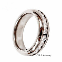 6mm Pure Titanium Prong Set CZ(Cubic Zirconia) Stone Inlay Wedding Anniversary Ring For Women Free Shipping G&S007TR