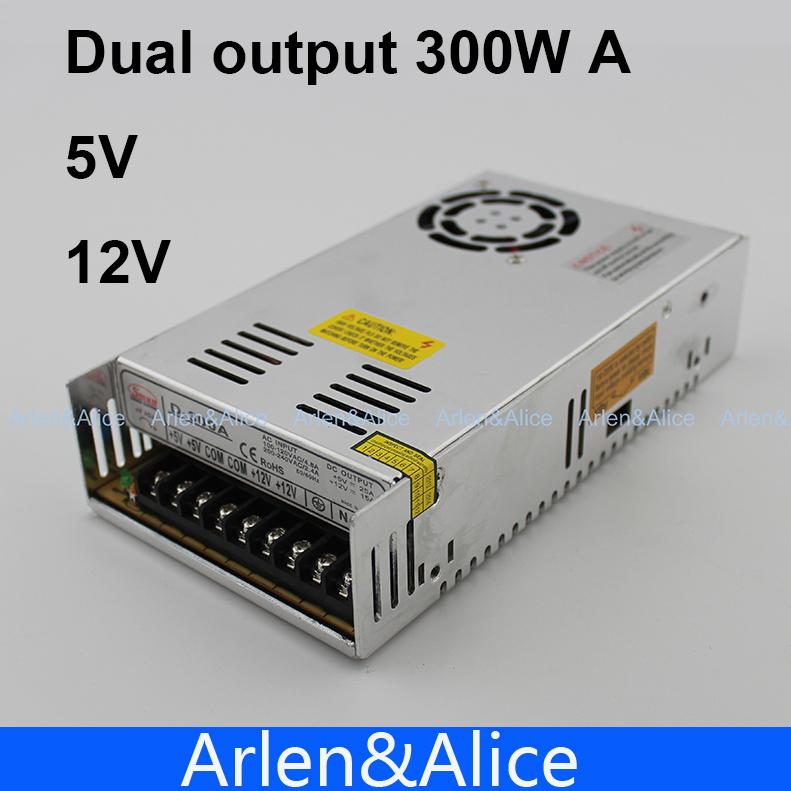 300W A Dual output 5V 12V Switching power supply AC to DC 25A DC 15.5A(China (Mainland))