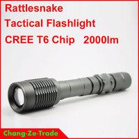 Metal housing Waterproof Tactical flashlight, XM-L T6 chip 2000 Lumens High Power Flashlight! Genuine T6 flashlight, beam 500 m!