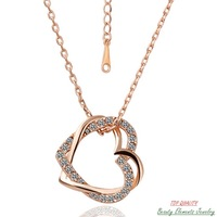 Love Heart Authentic 18K Rose  Gold Plated Pendant Necklace with Chain, Made With Swarovski Austrian Rhinestone Crystal N007