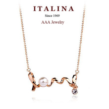 400305 Exquisite AAA Simulated Pearl Love Charm  Necklace Real Gold Plated Fashion Gift Jewelry