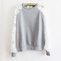 Trendy Elegant Women Clothes Hook Flower Lace Long-sleeved Hoodies Cotton Thin Hollow Out Round Collar Sweatershirt