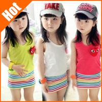 2014 Summer girls lovely stripe cherrykeke children colthing fashion one piece girl sleeveless dress