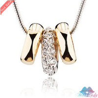 Wholesales Fashion Jewelry 18K Gold Plated Rhinestone Crystal Vintage Round Necklaces & Pendants Fashion Jewelry for women 1952