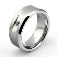 Wholesale Hot selling Matching Comfort Fit Men Rings Tungsten Ring-Zircon Inlay TRX-109 Size: 7/8/9/10/11/12