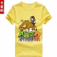 2014  summer 100% cotton Plants vs Zombies PVZ cartoon zombie cute   short  T-shirt   Children's clothes Plants vs zombies
